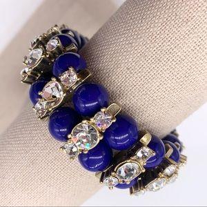 J. Crew Blue Jeweled Stretch Bracelet NWT